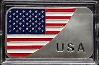 """1 Troy oz .999 Fine silver bar. """"USA Flag"""" design."""