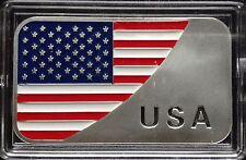 "1 Troy oz .999 Fine silver Bullion bar. ""USA Flag"" design. New"