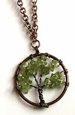 """Rose Gold Green Peridot Tree of Life Necklace Celtic 20"""" Plated Copper Gemstone"""