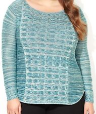 BRAND NWT Blue/Green Knit Marled Cable Bodice Pullover AVENUE Sweater PLUS 18/20