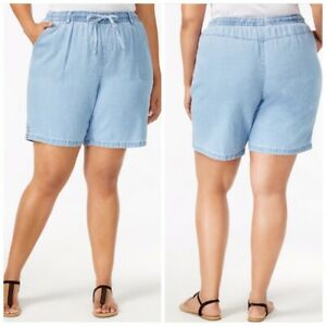 Womens Shorts 0X Light Denim Elastic by Karen Scott Comfort Waist Chambray