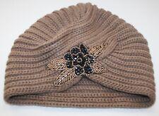 Women's Mocha Colored Beaded Flower Turban Style Knit Hat