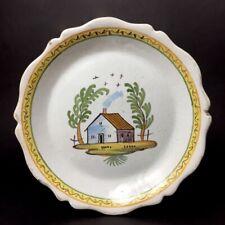 Assiette en faïence de Nevers XVIIIe - Maison dans un paysage 18e siècle