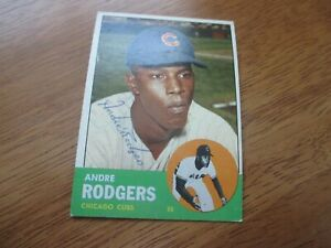 Andre Rodgers 1963 Topps baseball card ex condition autographed