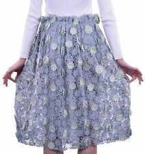 Cotton Blend Below Knee Floral A-Line Skirts for Women