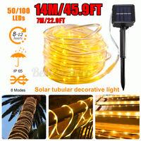 23FT LED Solar Rope Tube String Light Waterproof Outdoor Party Lamp Garden Light