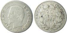 NAPOLÉON  III  ,  20  CENTIMES  ARGENT  TÊTE  NUE  ,  1860  BB  STRASBOURG