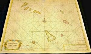 LARGE COLOR   Chart of The Islands of Cape Verd 1770CO. Beautiful Cartouche.