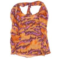 Diane Von Furstenberg Blouse Printed Silk Chiffon Sleeveless Marroca Top Size 8
