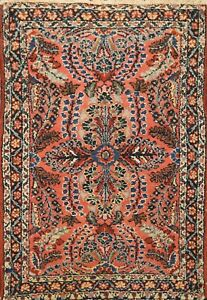 Vintage Coral Rust Vegetable Dye Lilihan Floral Area Rug Hand-knotted Wool 2'x3'