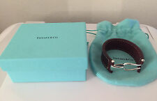 Men's Tiffany & Co. Paloma Picasso Sterling Silver Knot Leather Bracelet Size XL