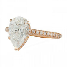 Hidden Halo Rose Gold Plated Silver  00006000 0.90cts Pear Diamond Engagement Ring With