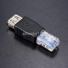 RJ45 Male to USB AF A Female Adapter Socket LAN Network Ethernet Router Plug AHA