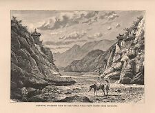 1885 Ca ANTIQUE PRINT ELISEE RECLUS : NAN KOW, SOUTHERN GATE OF GREAT WALL CHINA
