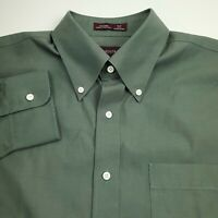 Nordstrom Dress Shirt Mens Size 16 1/2 32 Large Solid Green Cotton
