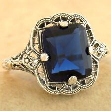 3 CT ROYAL BLUE SIM SAPPHIRE 925 STERLING SILVER ANTIQUE FINISH RING SZ 9, #1167
