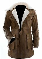 Dark knight Rises Bane Shearling Genuine Leather Buffing Brown Trench Coat