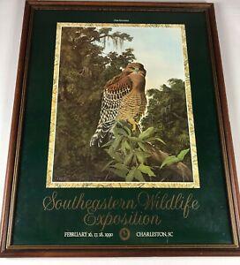 C Ford Riley Art Signed Southeastern Wildlife Exposition Framed VTG 1990 Owl 90s