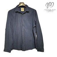 Koton Men's Slim Fit Shirt Blue Cotton XO Pattern Size XL