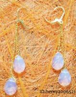 White Blue Fire Opal Drop 18k Yellow Gold Gild Link Hook Dangle Earrings