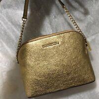 Michael Kors Large Dome Crossbody metallic crackle leather bag Gold Chain