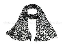 Big Leopard Cheetah Animal Print Wrinkle Scarf Wrap See Through Light Weight