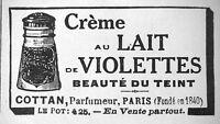 PUBLICITÉ CRÉME AU LAIT DE VIOLETTES BEAUTÉ DU TEINT - COTTAN PARFUMEUR PARIS