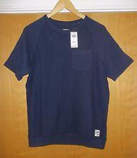Hollister Blu Navy con trama in pile T-shirt NUOVA con etichetta