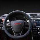 Vehicle Leather Fiber Steering Wheel Cover Breathable Black Blue Non-slip