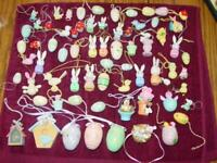 VINTAGE (68) EASTER Wood Hand Painted Ornaments - Bunny, Eggs ++ - Feather Tree
