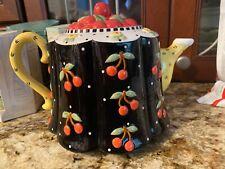 2001 Mary Engelbreit Cherry Teapot Cherries Michel & Co Tea Pot Excellent Cond.