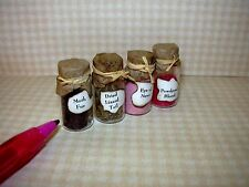 Miniature 4 Witch Potion Ingredients, Set #2 w/ PAPER TOPS: DOLLHOUSE 1/12 Scale