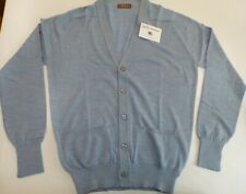 "Cameron Scottish V neck 4 ply merino lambswool button cardigan top 46"" Blue"