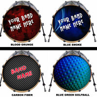 "Custom 20"" Bass Drum Head DECAL Skin Wrap Kick Sticker Vinyl FREE DESIGN"
