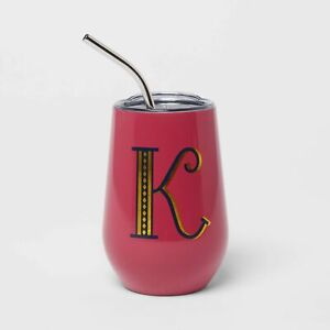 Wine Tumbler Straw Letter Initial K Double Wall Stainless Steel Vacuum 12 oz