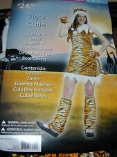 HALLOWEEN COSTUME Tiger Striped Princess Teen S 5-7 Dress Hat Gloves Tail+More
