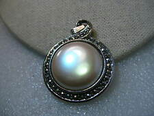 Vintage Silver Tone Faux Marcasite & Pearl  Reversible Pendant with Swing Bale