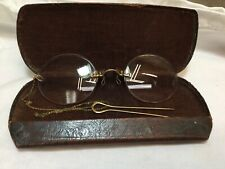 """Antique Womans Specticals Glasses w/ Victorian Gold Filled Hairpin & 9"""" Chain"""