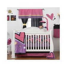 Crib Bedding Set 8Pc Baby Girl Nursery Hearts Flowers Curtains Blanket Bumper
