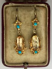 Topaz & Turquoise Earrings Circa 1800's A Fabulous Pair Of Georgian 8ct