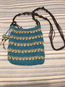 Sun n' Sand Crossbody Beach Bag Purse Woven Raffia Natural Turquoise