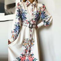 Women Fashion Slim Shirt Maxi Dress Lady Bodycon Flower Print Ball Gown Dresses