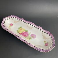 Antique Germany Relish Celery Dish Hand Painted Roses Pierced Lace Edge