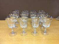 "12 Vintage Fostoria 6 3/4"" Wine Stemmed Glasses with a Silver Rim - Excellent"