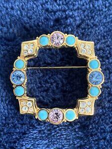 Vintage Swarovski Clear Pink Blue Crystal Pin Brooch Circle Swan Mark