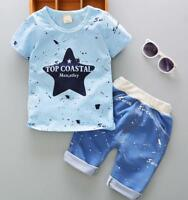 2pcs Toddler Kids baby boys summer clothes set Tee+short pants outfits STAR