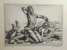 Vintage 1939 lithograph TWO BOYS ON A BEACH by PAUL CADMUS, Free Shipping!