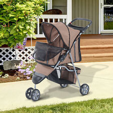 More details for pawhut coffee pet stroller dog cat puppy jogging pushchair carrier w/ 3 wheels