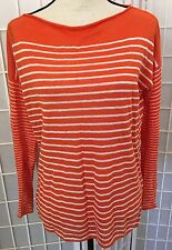 VINCE Orange/White Light Weight Stripe Boat Neck Linen Sweater Sz XS EUC Cool
