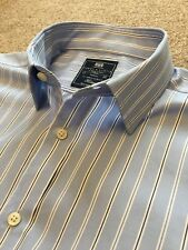 WORN ONCE HAWES & CURTIS ST JAMES SLIM FIT BABY BLUE BOLD STRIPE SHIRT 17  36